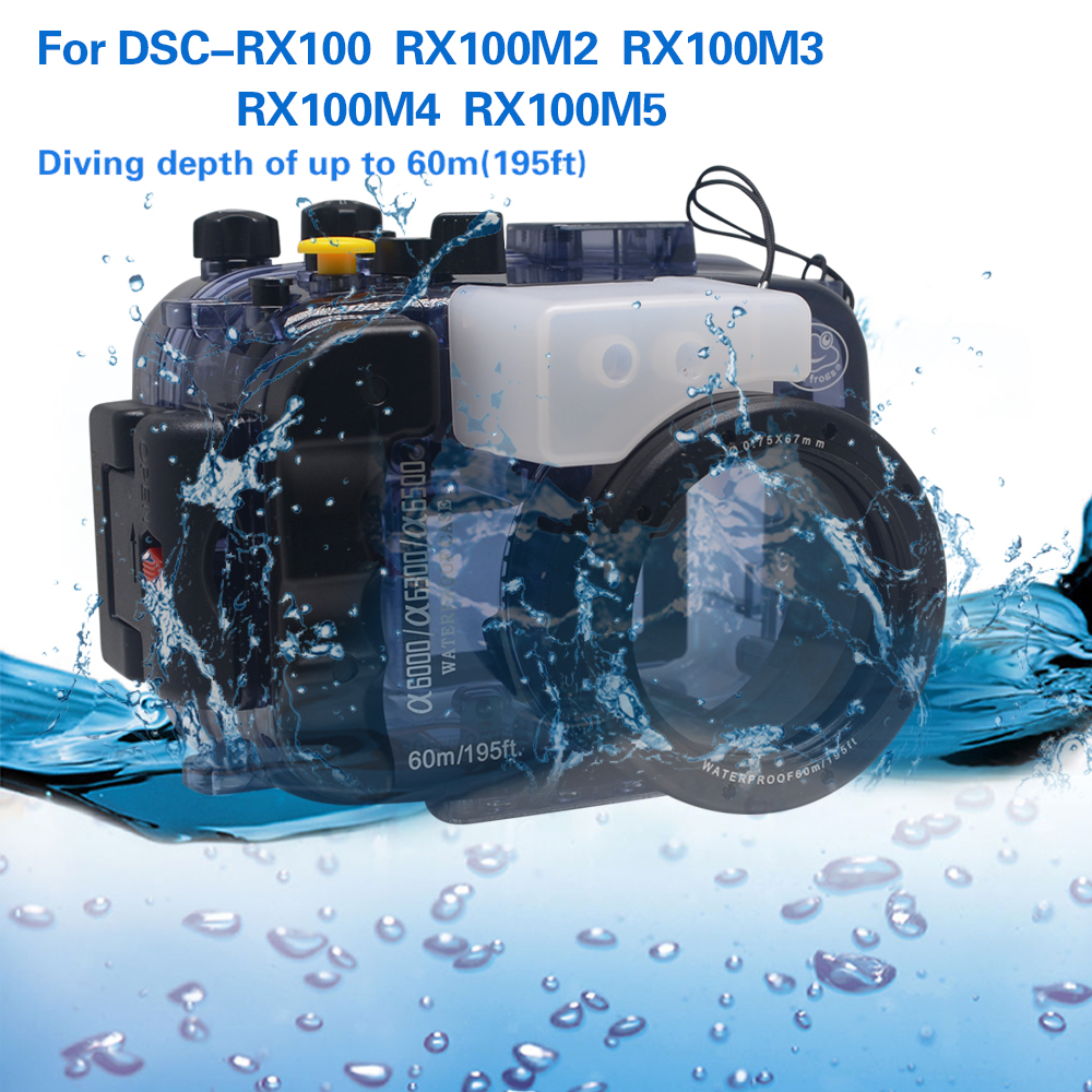 Mcoplus 40m 130ft Diving Camera Waterproof Housing Bag Case for Sony RX100 RX100M2 RX100M3 RX100M4 RX100M5 Camera 40m 130ft waterproof underwater camera diving housing case aluminum handle for sony a7 a7r a7s 28 70mm lens camera