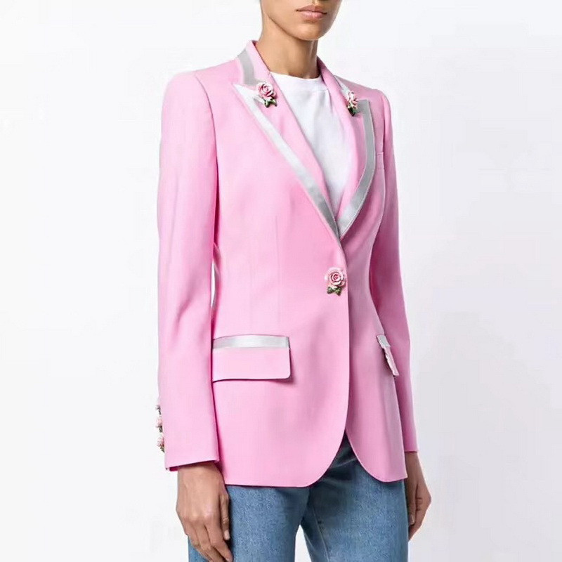 High Quality 2019 Coat Women New Fashion Runway Blazer Feminino Long Sleeve Rose Flower Appliques Patchwork Print Pink Outerwear-in Trench from Women's Clothing    1