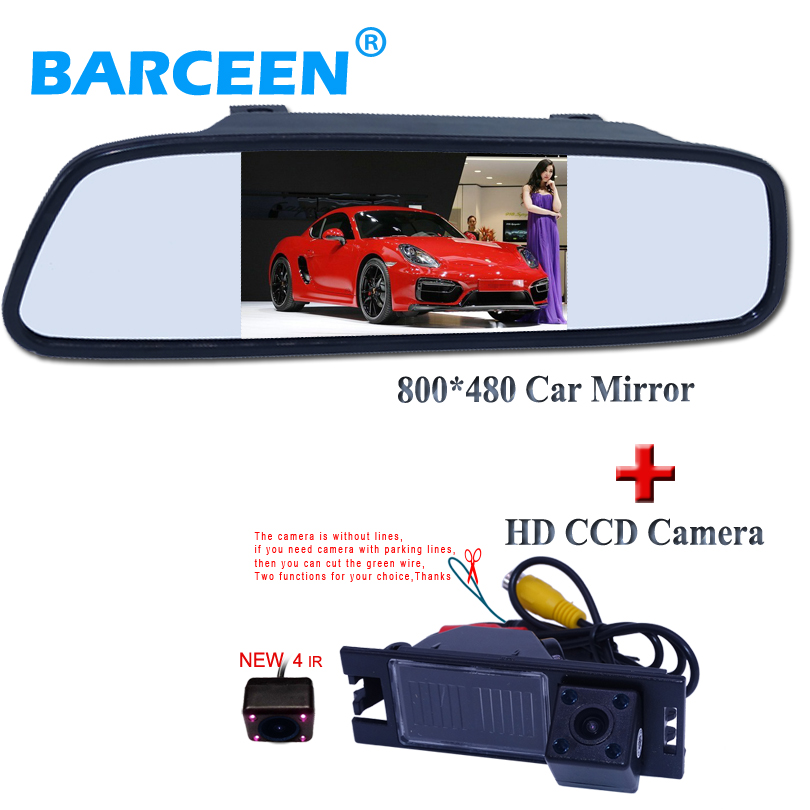 Auto parking System 4.3 TFT LCD Car Rearview Mirror Monitor+ HD Car Rear View Backup Reverse Camera For hyundai IX35 TUSCON 7 inch 800x480 hd tft lcd screen car rearview display backup reverse system monitor support sd for rear view camera auto parking