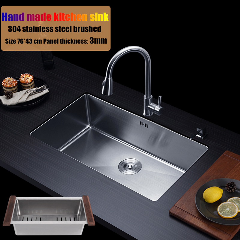 76*43cm 304 stainless steel kitchen sink hand made single bowl water tank large size brushed thick 3mm+1.2mm with faucet choose double bowl stainless steel kitchen sink with faucet tap evier fregadero de la cocina disipador lavello della cucina spoelbak ke
