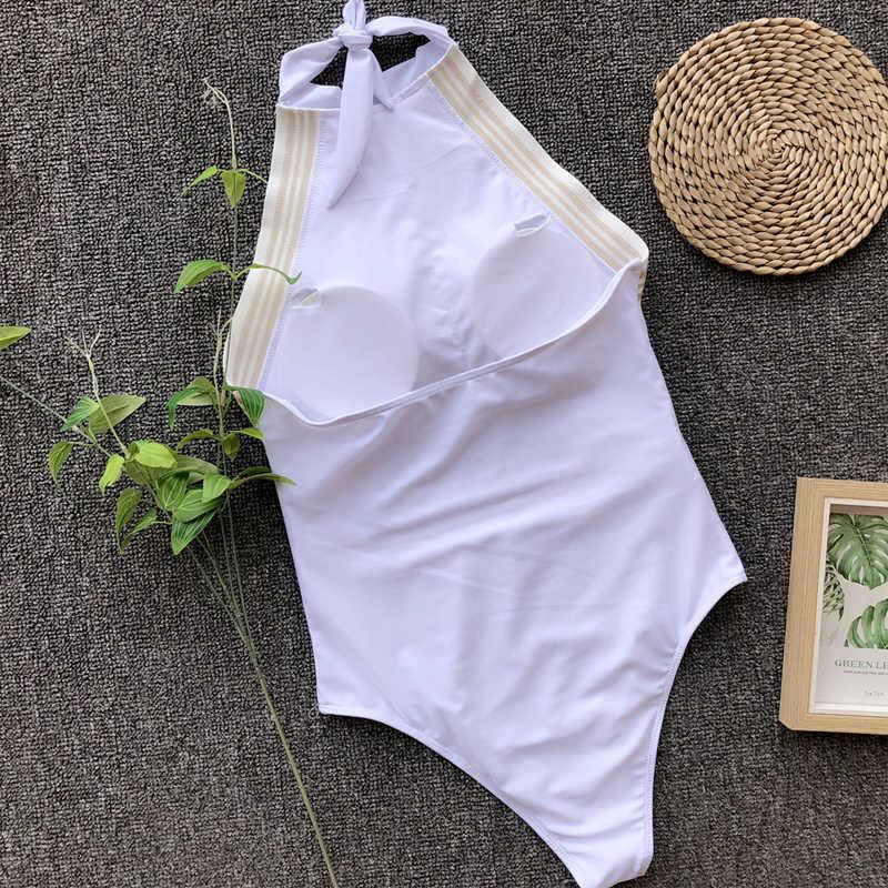 Baju Renang Baju Renang Wanita One Piece Seksi Putih Tinggi Leher Swimsuit Monokini Baju Renang Pakaian Renang untuk Wanita Sederhana Baju Renang