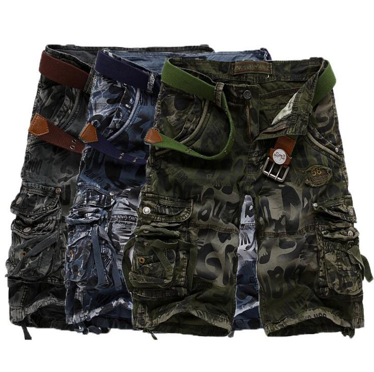 2017 New mens summer military cotton Short cargo shorts bermuda jeans male fashion casual baggy cargo shorts Casual Loose
