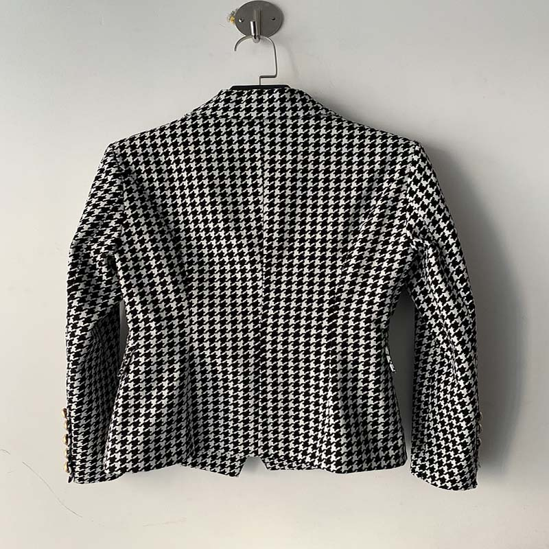 High Quality 2019 New Designer Blazer Women Long Sleeve Metal Lion Buttons Popular Houndstooth Woven Blazer Jacket Runway