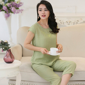 Good quality pajamas for women short sleeve pyjama femme plus size ladies pajamas Cotton and linen pijamas mujer XL XXL XXXL 4XL Pajama Sets
