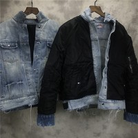 Reversible Distressing Denim Trucker Jacket Military Side Pocket Quilted Bomber Jacket Free Shipping