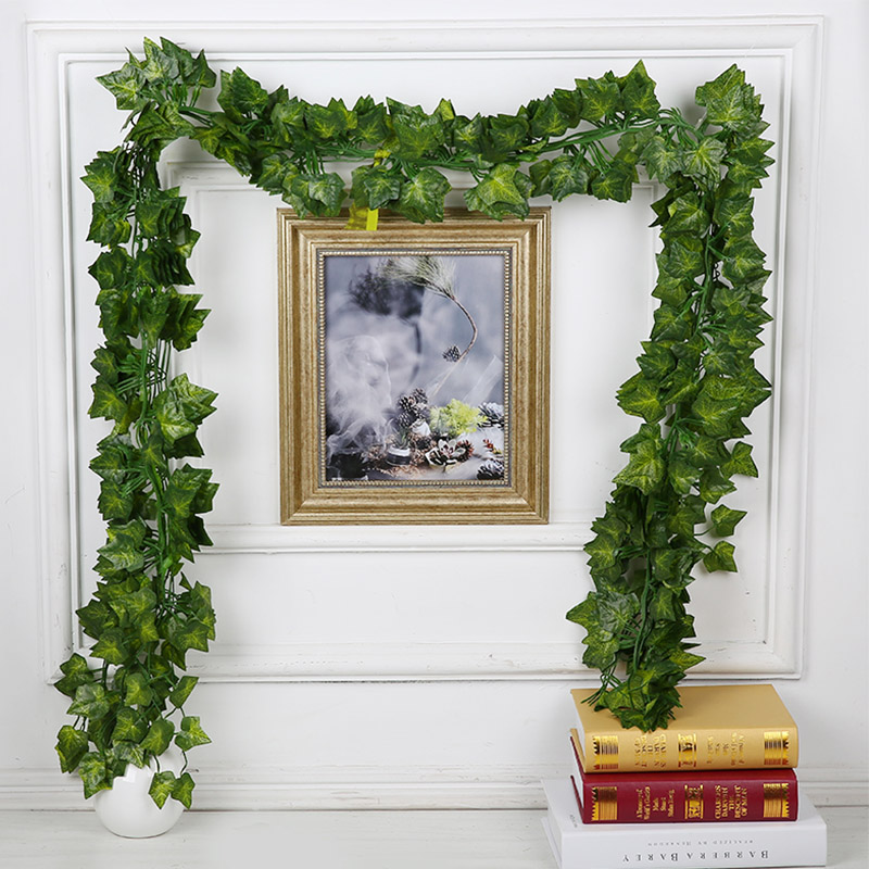 Artificial Decorations Artificial Plants Wall Hanging Decorative Flower Simulation Green Planting Rattan Fake Leaves Wall Hanging Home Wedding Decor Attractive Fashion