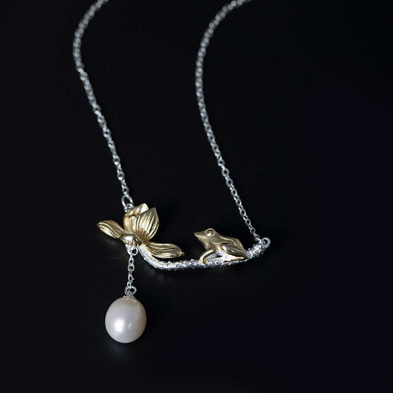 Frog & Lotus Solid Silver 925 Female Choker Necklace Pure Sterling Silver 925 With Natural Pearl Elegant Sweet Bijoux Women Gift elegant 925 pure silver necklace for women silver