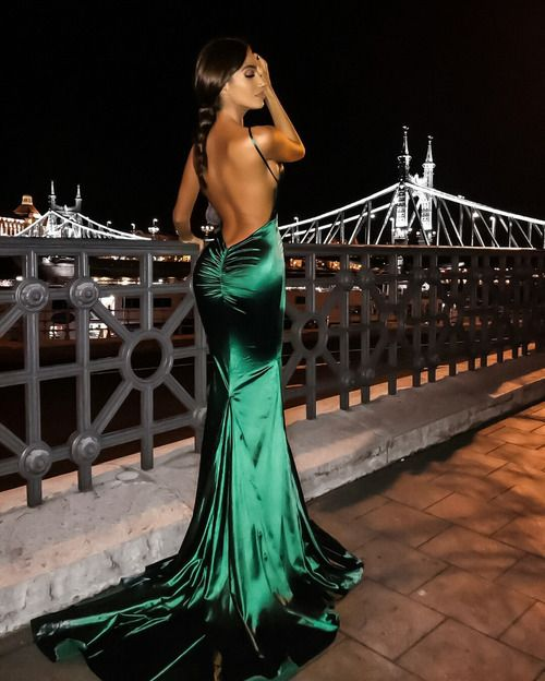 Spaghetti Straps V Neck Sheath Simle Long   Prom     Dresses   Sexy Backless Mermaid   Prom   Gowns