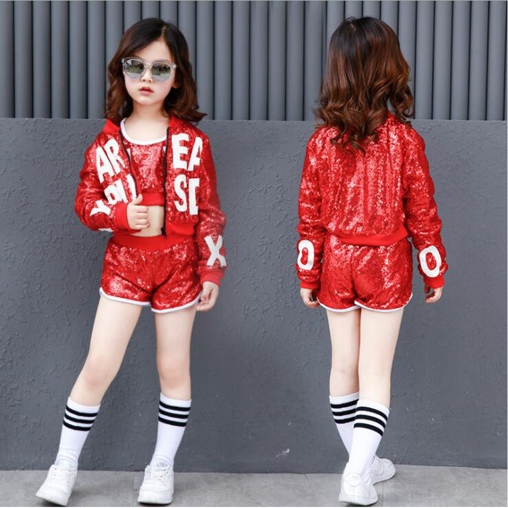 Sequin Girls Boys Red Hip Hop Dance Clothing Ballroom Shirt Top Pant For Kid Jazz Performance Costumes Modern Party Stage Cloth