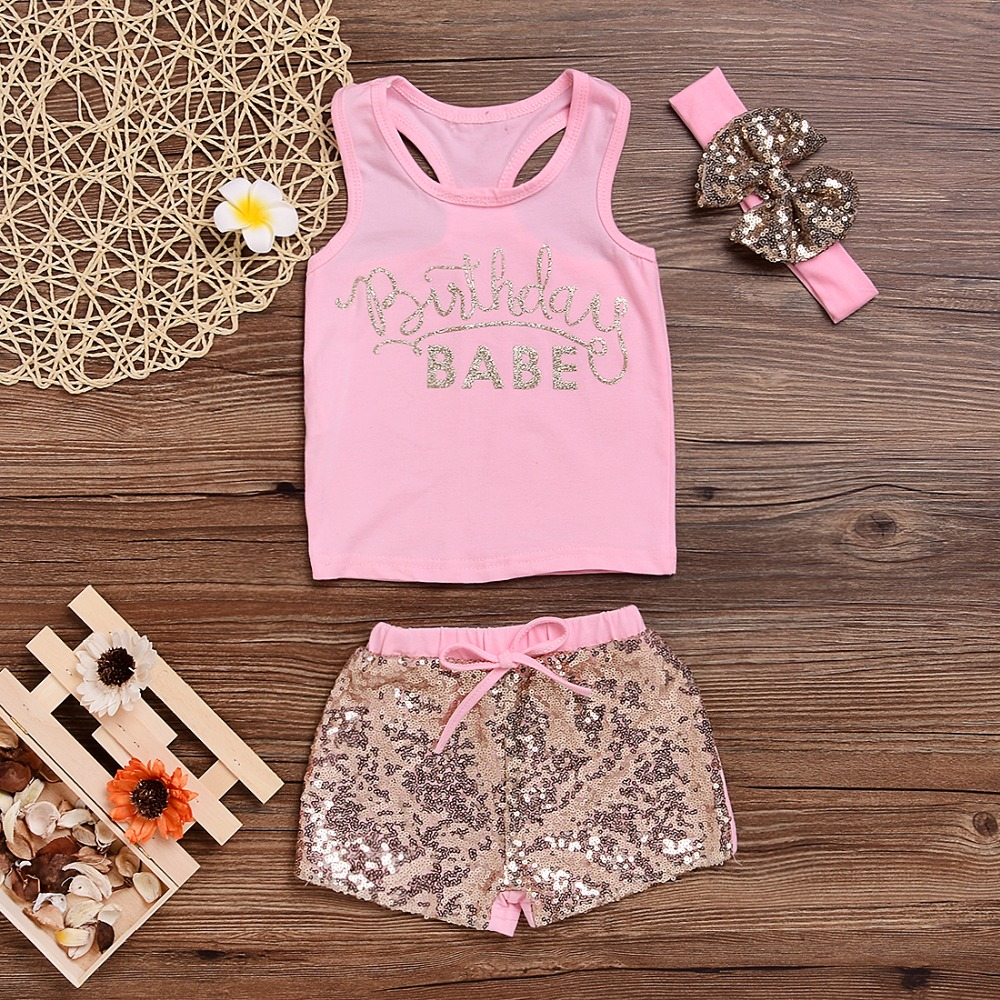 656fc4b82c0 Mikrdoo Fashion Girl s Suit Pink Summer Style Newborn Baby Girls Cotton  BABE Printed Tops+ Sequin Pants +Headband Outfits 3Pcs-in Clothing Sets  from Mother ...