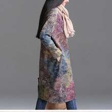 Johnature Women Dress Vintage 2018 Spring New Plus Size Women Clothes Loose Korean Fashion Cotton Robe Print Floral Warm Dress