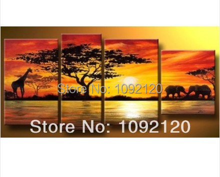 handpainted 4 piece modern landscape oil painting on canvas wall art sunset African animals picture for home decor unique gift