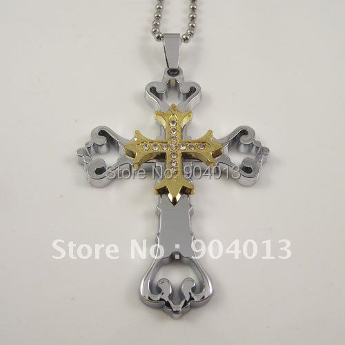 1pcs Free Shipping double Stainless Steel Cross Necklace, Fashion rhinestone hollow out flower cross Jewelry, Wholesale