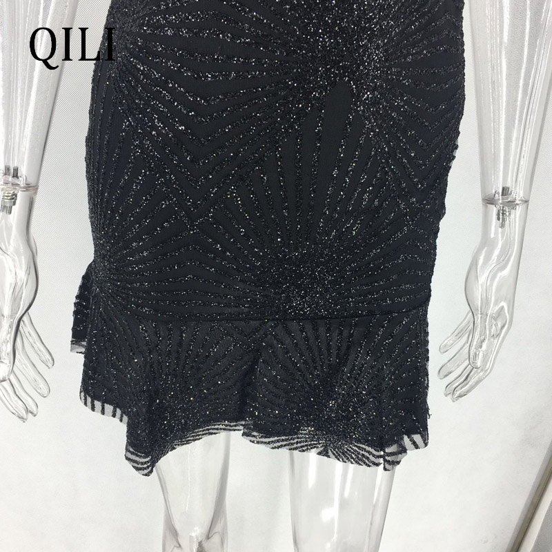 QILI Sexy Backless Club Dress For Women Spaghetti Strap V Neck Bronzing Sequin Midi Dresses Nightclub Bandage Dress Black Gold in Dresses from Women 39 s Clothing