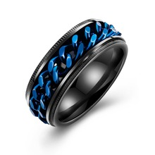 2019 New Ring Geometric Simple Men Wide Face Rotatable Metal Men Ring Blue Chain Fashion Titanium Steel Jewelry Rings for Men цена