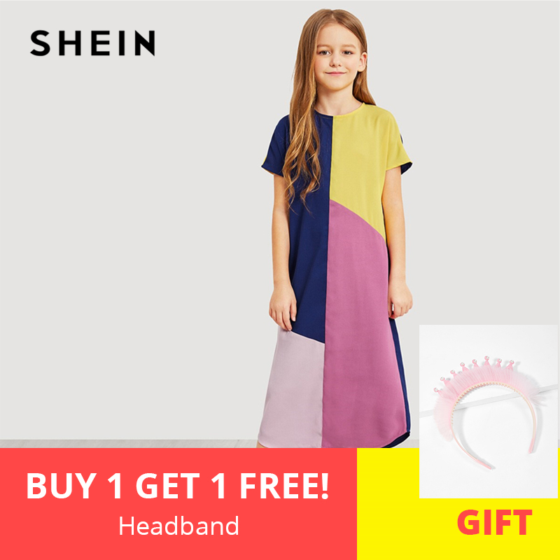 SHEIN Kiddie Girls Zipper Back Color Block Casual Long Dress Kids Clothing 2019 Summer Short Sleeve Casual Kids Straight Dresses