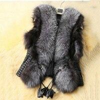 2018 New Black Faux Fur Vest Warm Winter Fur Jacket Coats for Women Fashion Female Fur Vest Faux Fur Coat LU442