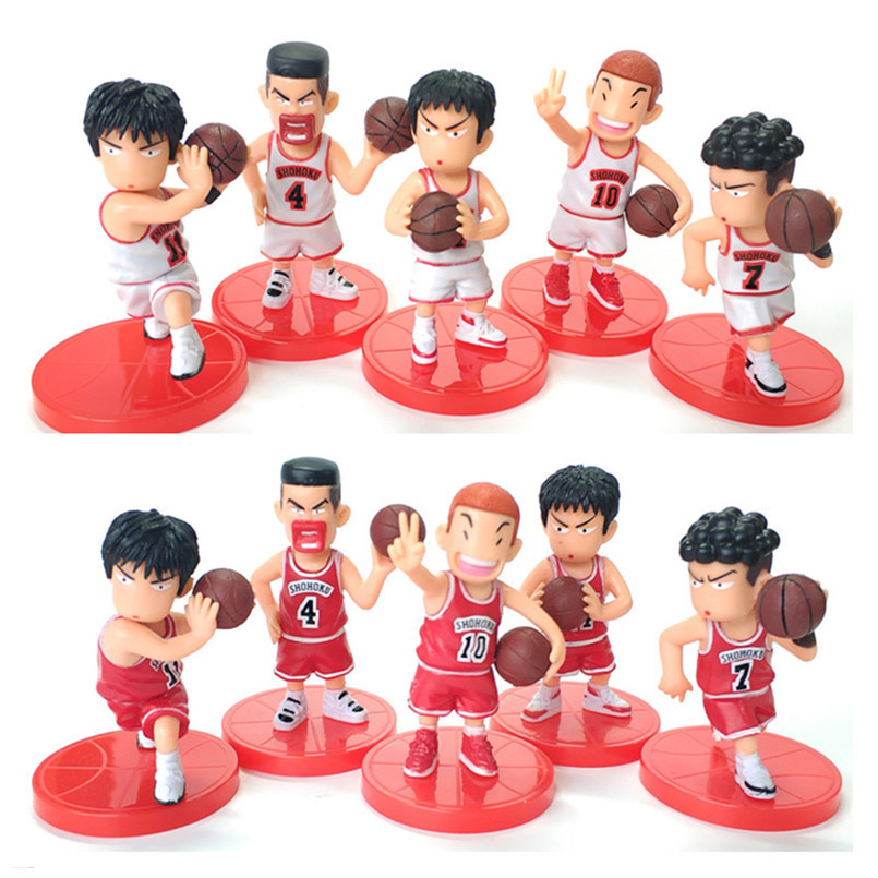 5Pcs/set SLAM DUNK Shohoku Basketball Player Figures Toys Hanamichi Rukawa Kaede Sakuragi Anime collectible Model Toys for kids image