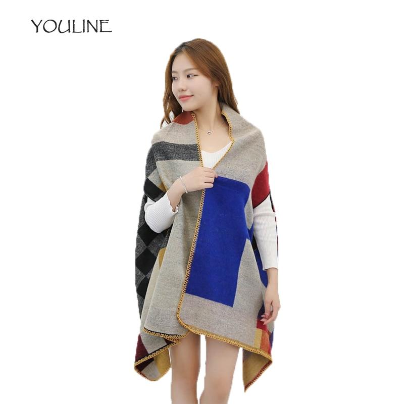 YOULINE Winter women scarf cashmere pashmina fashion boho style plaid oversize blanket poncho feminino inverno stoles S17393