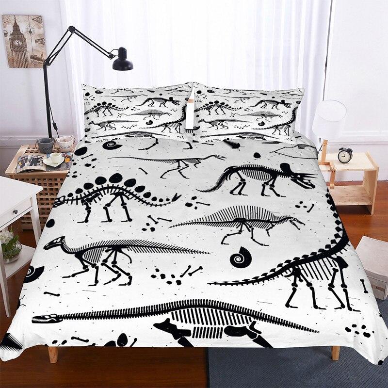 Fanaijia Cartoon Dinosaur Bedding Set Single Dinosaur Fossil Duvet Cover With Pillowcase Set Children Bed Linen
