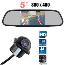 цена на Parking car 5 Inch LCD TFT Car Rear View Mirror Monitor 800 x 480 with Dynamic Track Rear View CCD Backup Reverse Camera Kit