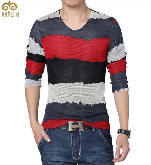MIUK Tamanho Grande T Shirt Homens Listrado Verão 5XL Estilo Clássico V Pescoço Camisa Masculina 2016 Dos Homens Novos de Algodão Vermelho Azul Tshirt