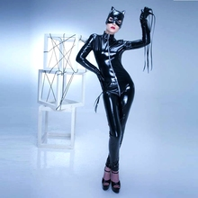 a2c564e3e0 Women Black Red PU Leather Catsuit Sexy Catwoman Costume Bodysuit Jumpsuit  Stretchable Front Zipper Night club