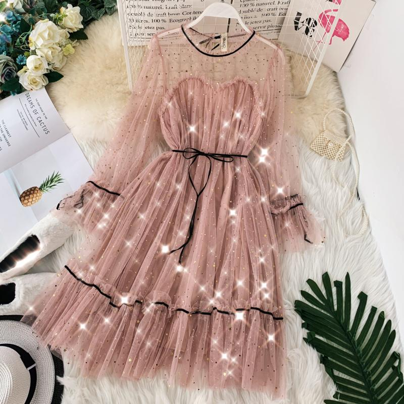 HISUMA spring autumn new women Star sequins gauze flare sleeve lace-up Princess dress female elegant o-neck mesh puff dresses 30