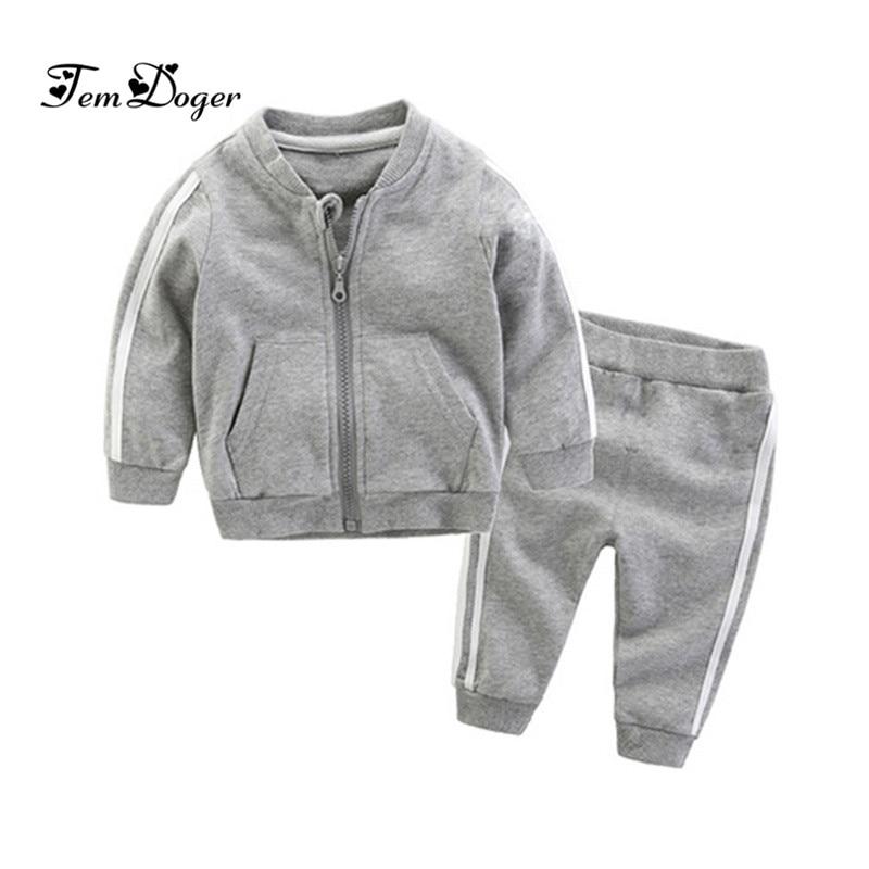 2018 autumn fashion baby girl clothes cotton long sleeve solid zipper jacket+pants 2pcs bebes tracksuit baby boy clothing set 1
