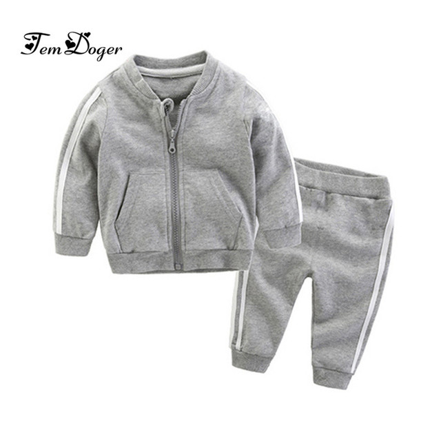 2018 autumn fashion baby girl clothes cotton long sleeve solid zipper jacket+pants 2pcs bebes tracksuit baby boy clothing set 1