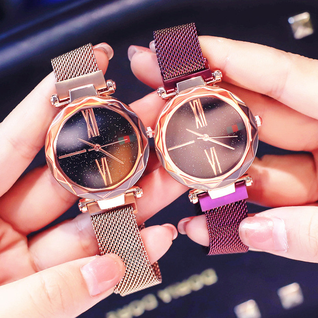 Fashion Rose Gold Women Watch Luxury Minimalism Lady Gift Clock Magnet Buckle 4