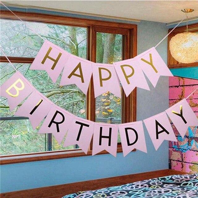Multicolor Happy Birthday Banner Garland Hanging Bunting Wedding Party Decor