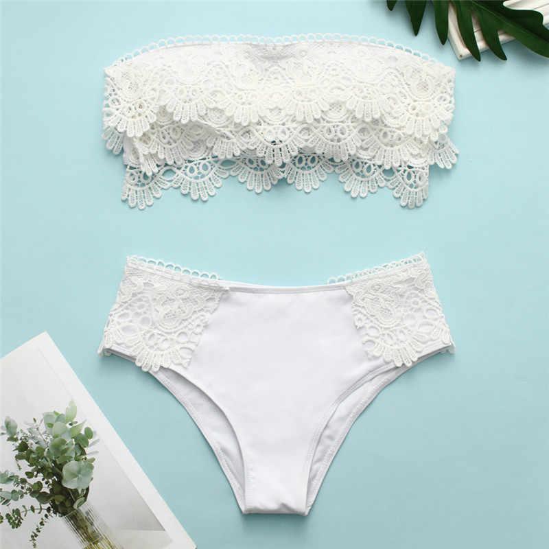 Renda 2019 Wanita Pinggang Tinggi Pakaian Renang Padat Baju Renang Wanita Pita Pengikat Rambut Putih Hitam Bikini Set Biquini Baju XL