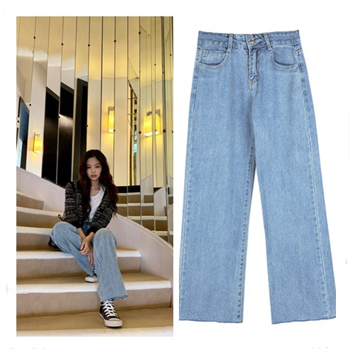 Kpop Blackpink JENNIE Same Streetwear High Waist Blue Straight Jeans Female Student Korean Style Autumn Wild Jeans Women Clothes
