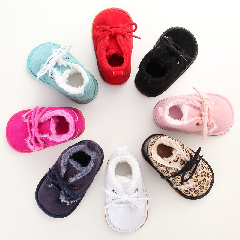 Hot Toddler Winter Warm Leopard Baby Kids High Shoes Casual Anti-Slip Walk Sneaker First Walkers New