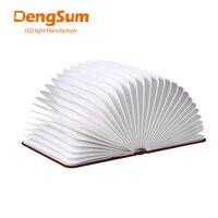 [Dengsum] 나무 접는 책 led 나이트 라이트 아트 장식 조명 책상/벽 마그네틱 램프 화이트/따뜻한 화이트 새해 선물