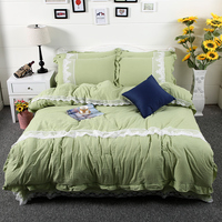 4Pcs Washed cotton Lace Pure Bedding sets Soft breathable Duvet cover set Bed sheet Pillowcases Queen King size free ship
