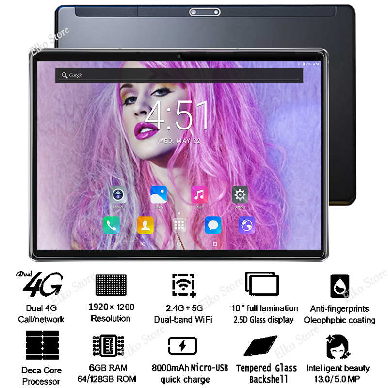 2019 HD 10 cal 2.5D szkło Tablet PC 4G LTE Android 8.1 Deca Core 6 GB pamięci RAM 128 GB ROM 1920*1200 IPS A-GPS Wifi Youtube/sklepu Play