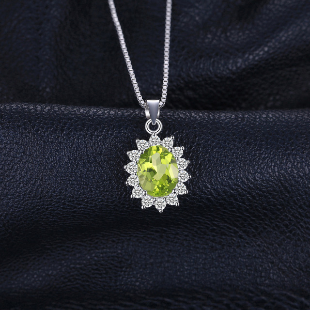 JewelryPalace Princess Diana William Kate 2.2ct Natural Peridot Solid 925 Sterling Silver Pendants Necklaces Women Without Chain