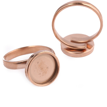 reidgaller 10pcs Fit 12mm Glass Cabochon Ring Base blanks diy adjustable rose gold stainless steel bezel settings for jewelry