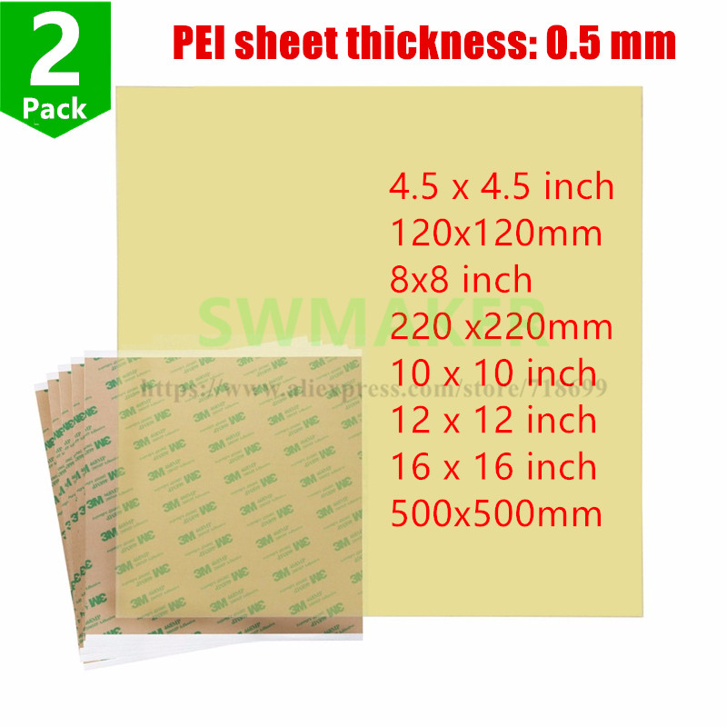 2pcs Ultem1000 Polyetherimide PEI Sheet with 468MP Adhesive tape 10''/12''/16''/8''120/220/<font><b>500mm</b></font> for <font><b>3D</b></font> <font><b>Printer</b></font> Build Surface image