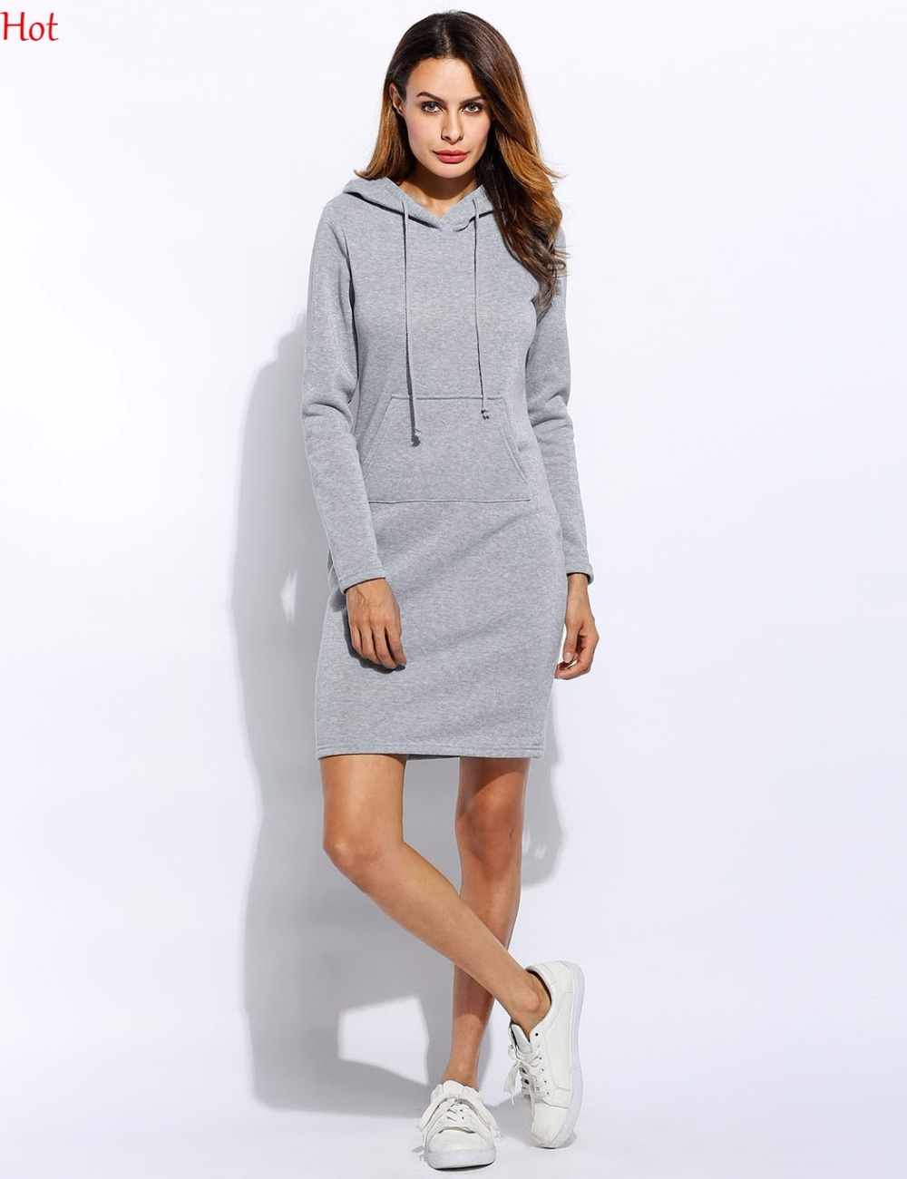 Plus Autumn Winter Women Hoodie Dress Casual Hips Long Sleeve Casual Style Hooded -7018
