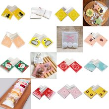 50/100 pcs/lot 18 Pattern Bakery Candy Cookie Gift Bag Self-adhesive Transparent Cellophane Polka For Wedding Birthday Party 8Z(China)