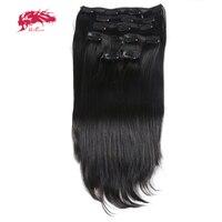 Ali Queen Hair 120Gram 7Pcs/pc Full Head Machine Made Remy Hair #1b/#613/#27 Straight Clip In Human Hair Extension