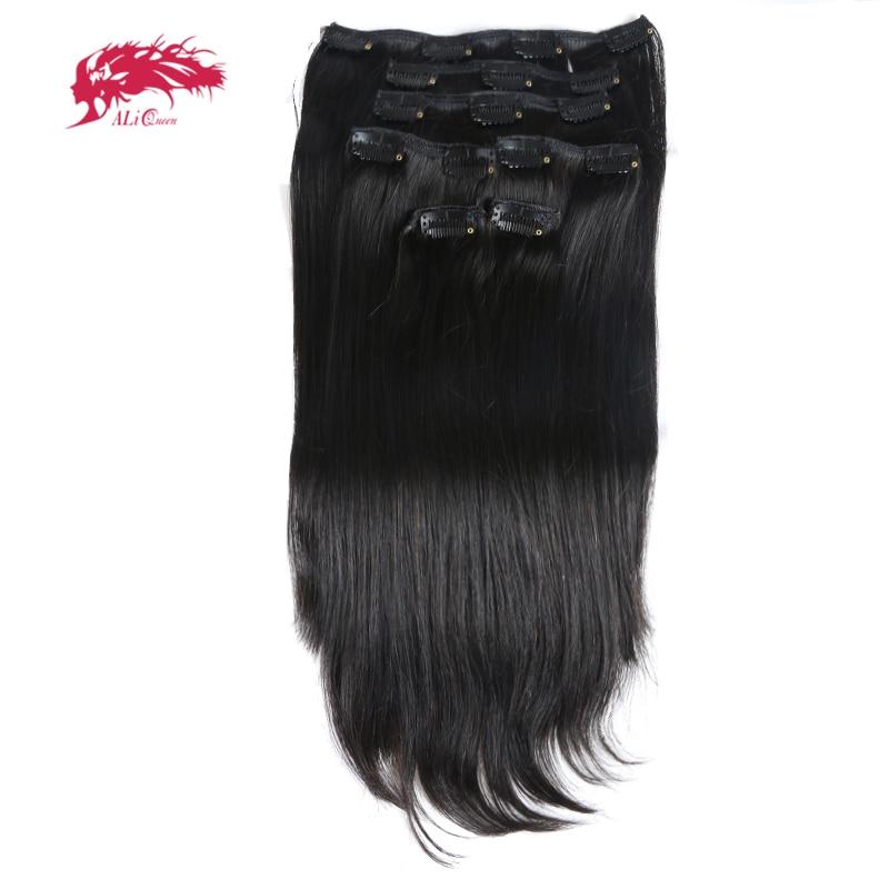 Ali reine cheveux 120 gramme 7 Pcs/pc pleine tête fait à la Machine Remy cheveux #1b/#613/#27 Clip droit dans l'extension de cheveux humains