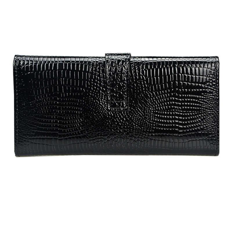 Portefeuille en cuir motif Crocodile pour femme portefeuille à trois volets en cuir verni pour femme porte-monnaie à fermeture éclair pour femme
