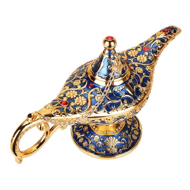 Vintage métal Aladdins magique lampe artisanat Figurines en alliage d'étain rétro théière lampe Miniatures enfants noël jouets cadeau livraison directe