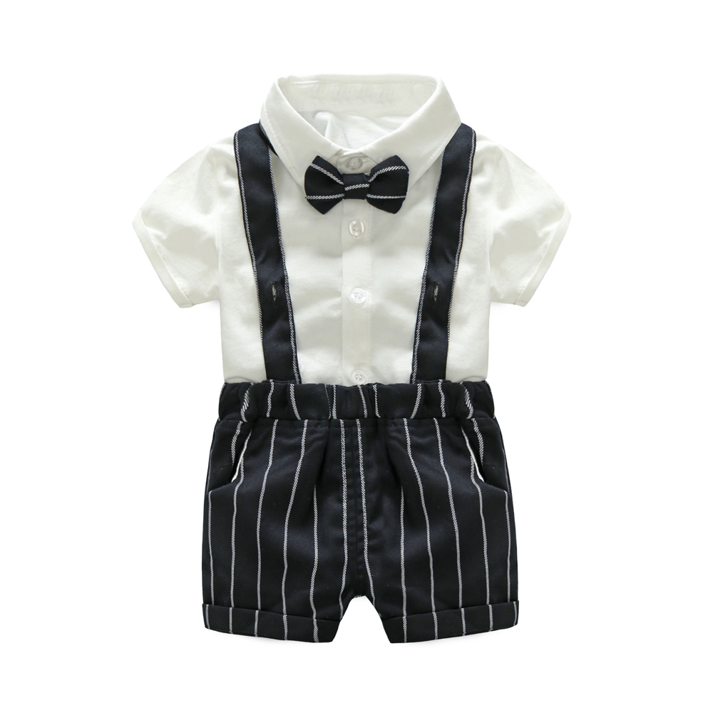Tem Doger Baby Boys Gentleman Summer Clothes Suit Short Sleeve Cotton Bowtie White Shirts + Shorts 2 Pcs Sets Toddler Outfits