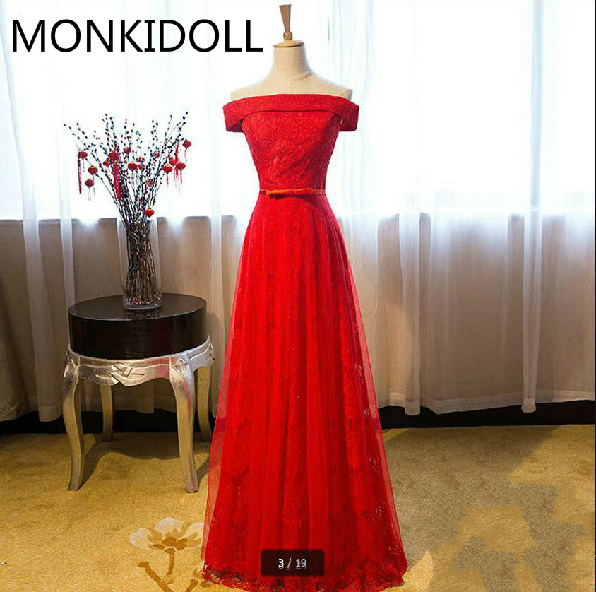 Prom-Dress Shoulder Elegant Best-Selling Real-Photo Lace Red Off The Sashes Bow A-Line