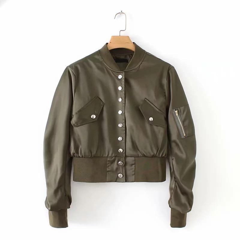 Ordifree 2019 Autumn Winter Women Bomber Jacket Streetwear Silk Casual Short Coat Satin Basic Jacket